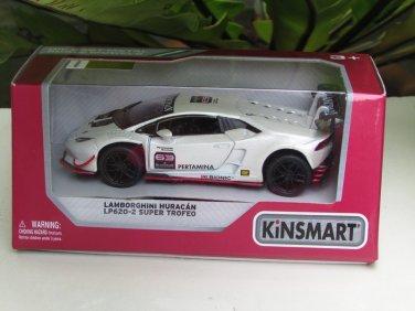 "Kinsmart (5"") Die cast Blancpain 2015 Lamborghini Huracan LP 620-2 Super Trofeo # 63 White  (1-36)"