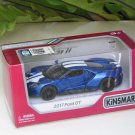 "Kinsmart (5"") Die cast  Model Car 2017 Ford GT Blue (1-38) White Stripe"