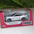 "Kinsmart (5"") Die cast  Model Car 2015 Ford Mustang GT 5.0 Silver (1-38) Blue Stripe"