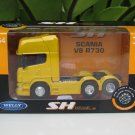 Welly 1-64  Die Cast Model SCANIA V8 R730 (6x4) 6 WHEEL TRACTOR UNIT TRUCK Yellow (10cm)