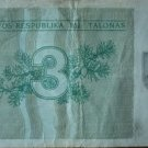 Lithuania money 3 talonas, 1991