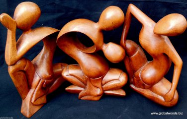 Hand Sculpted Three Artistic Women Sculptures Abstract Art Wood Carving Art