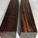 Two Macassar Ebony Lathe Wood Blanks 2.5x2.5x12 Woodworking Lumber Ebony Timber