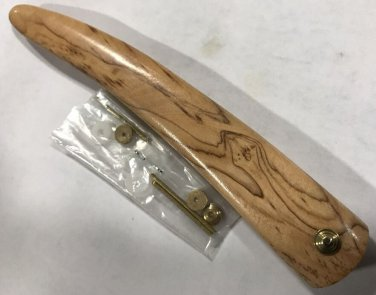 Olive Wood Straight Razor Scales Fitted Brass Bullseye Collars  Extra Hardware
