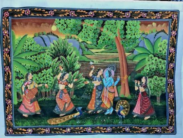 Antique Hindu God Radha Krishna Painting Miniature Painting Krishna Ras Leela