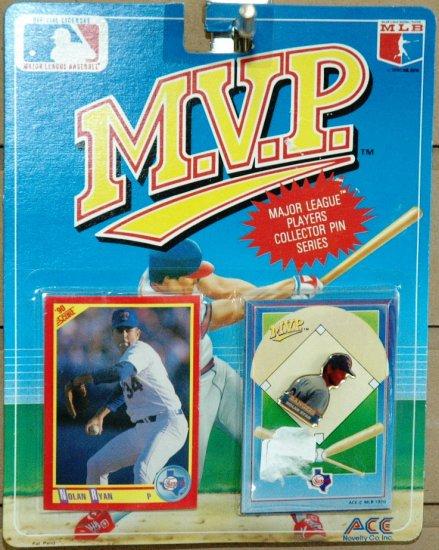 NOLAN RYAN TEXAS RANGERS 1990 MVP PIN & CARD SET