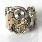 STEAMPUNK - Silver Toned WATCH MOVEMENT RING - Neo Victorian