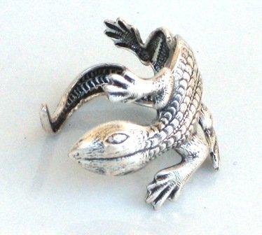 Steampunk - LIZARD RING - Antique Silver - Lizard HUGS Your FInger - GlazedBlackCherry