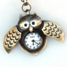 Steampunk - MIDNIGHT OWL Pocket Watch - Wings Open - Necklace - Antique Brass - GlazedBlackCherry