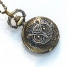 Steampunk - OWL POCKET WATCH - Necklace - Antique Brass - GlazedBlackCherry
