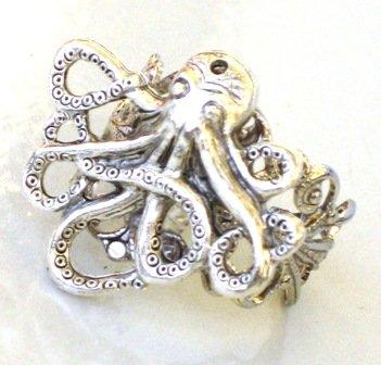 Steampunk - OCTPUS RING - Antique Silver - GlazedBlackCherry