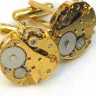 Steampunk WATCH MOVEMENTS CUFFLINKS Gold Toned Vintage Element Mechanical