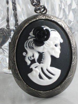 Steampunk Cameo Locket Necklace SKELETON LADY BlackRose