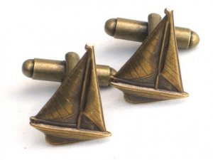 Steampunk GO SAILING Cufflinks Boat Ship Nautical AB