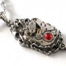 Steampunk Victorian Jeweled Watch Movement Necklace
