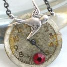 Steampunk SOARING BIRD Vintage Ruby Watch Face Necklace