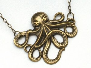 Steampunk OCTOPUS NECLACE - Antique Brass - Nautical