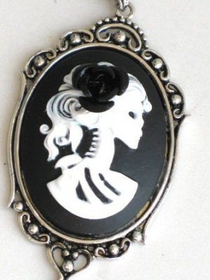 Steampunk Cameo Necklace - SKELETON LADY - Black Rose