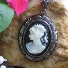 Steampunk Cameo Necklace - LADY IN BLACK Gun Metal SM