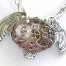 Steampunk MECHANICAL OWL Necklace Watch Movements AS