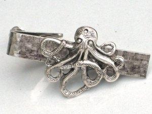 Steampunk OCTOPUS Nautical Men's Tie Bar Clip pin AS