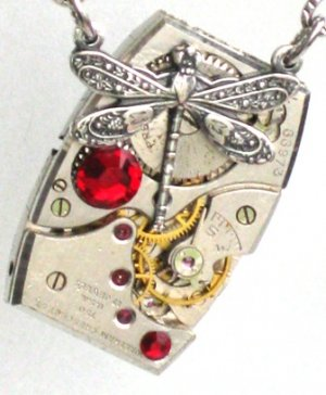 Steampunk RUBY JEWEL DRAGONFLY Necklace Watch Movement