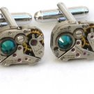 Steampunk WATCH MOVEMENTS CUFFLINKS Emerald Green Crystal vintage mechanical