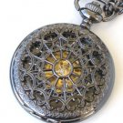 Steampunk BLACK WIDOW Skeleton Pocket Watch Mechanical Necklace Chain