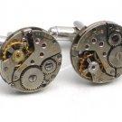 Steampunk WATCH MOVEMENTS CUFFLINKS vintage element mechanical Round
