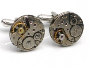Steampunk WATCH MOVEMENTS CUFFLINKS vintage element mechanical Round