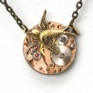 RARE Rose Gold - Steampunk SOARING BIRD Hunger Games Watch Movements Necklace