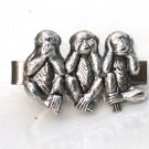 Steampunk - SPEAK SEE HEAR No Evil Men's Tie Clip Bar - Monkey - Antique Silver