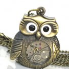 Steampunk MRS OWL Pendant Necklace Watch Movement