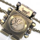 Steampunk MR ROBOT Pendant Necklace Watch Movement