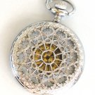 Steampunk WEB OF LOVE Pocket Watch White Face Mechanical Necklace