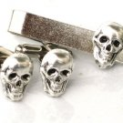 Steampunk - Pirate SKULL Cufflinks Tie Clip Bar - Skeleton cuff links Steam Punk