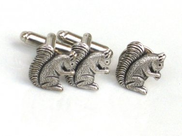 Steampunk Squirrel Cufflinks Tie Pin Clip tack  cufflinks Grooms man Gift
