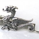 Steampunk FIRE BREATHING DRAGON Men's Tie Clip Bar Clasp Antique Silver