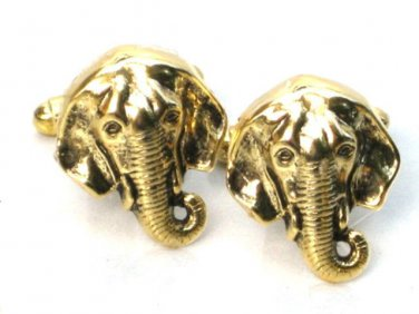 Steampunk ELEPHANT Men's Cufflinks Cuff Links Antique Gold Groomsman Gift