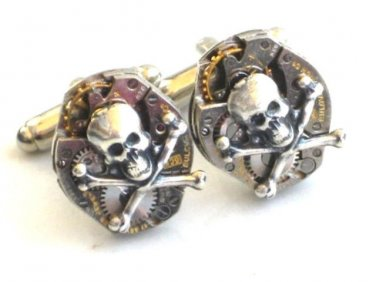 Steampunk - SKULL and CROSSBONES Watch MOVEMENTS Cufflinks cuff links Steam Punk