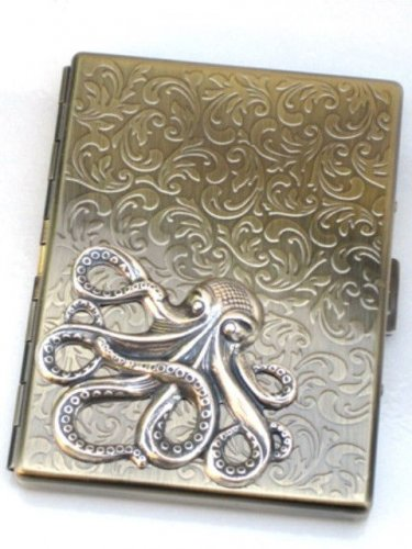 Steampunk Metal OCTOPUS Cigarette Case Slim Wallet Large Card Case ASB2