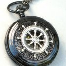 Steampunk Nautical SHIPS WHEEL Pocket Watch Mechanical Chain Jet Black