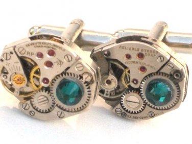Steampunk Green WATCH MOVEMENTS CUFFLINKS vintage element mechanical cuff links