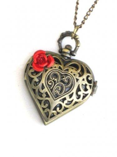 Steampunk VICTORIAN LOVE - Heart Rose Pocket Watch - Steam Punk Necklace Fob