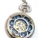Steampunk VINTAGE FLOWER Pocket Watch Mechanical Chain Steam Punk Shiny Silver