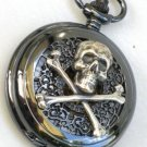 Steampunk SKULL and CROSSBONES Pocket Watch Mechanical Chain Steam Punk