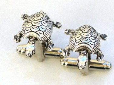 Steampunk WATER TURTLE Cufflinks Antique Silver Nautical Steam Punk Cuff Links
