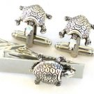 Steampunk WATER TURTLE Tie Clip Cufflinks Nautical Steam Punk Cuff Links