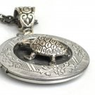 Steampunk Turtle Necklace Pendant  locket Antique Silver