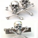 Steampunk - SKULL and CROSSBONES Cufflinks Tie Clip - Bar cuff links Steam Punk